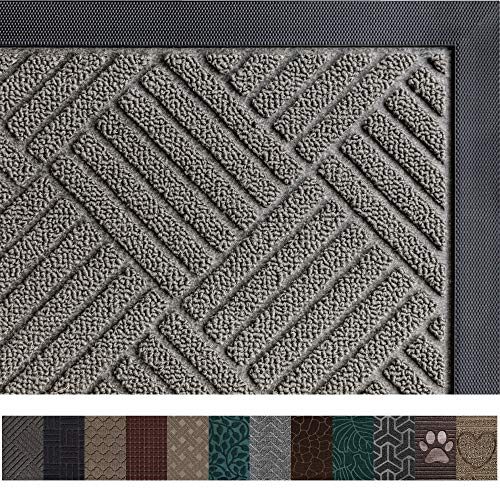 Gorilla Grip Original Durable Rubber Door Mat, 29 x 17, Heavy Duty Doormat, Indoor Outdoor, Waterproof, Easy Clean, Low-Profile Mats for Entry, Garage, Patio, High Traffic Areas, Gray Diamond (Best Place To Sell Rv)