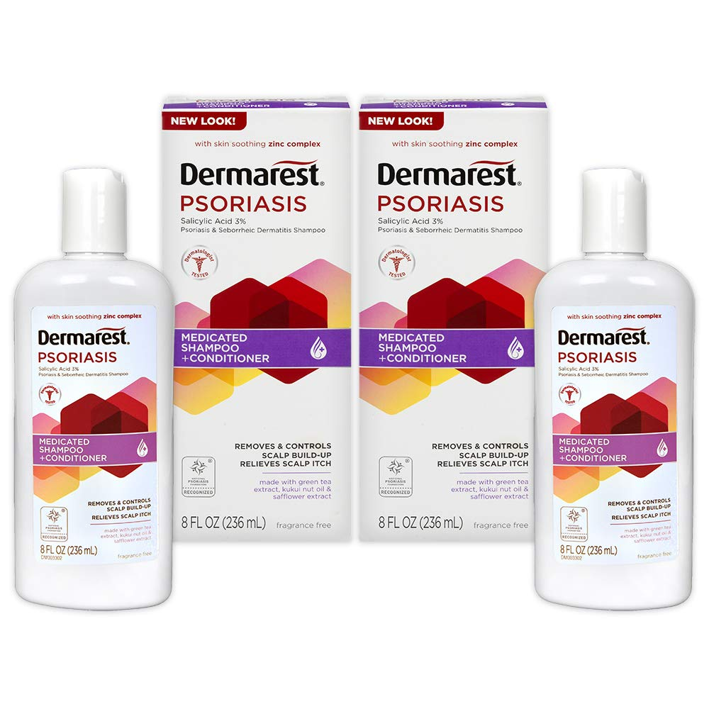Dermarest Psoriasis Medicated Shampoo Plus Conditioner | 8 FL OZ | 2 Pack by Dermarest