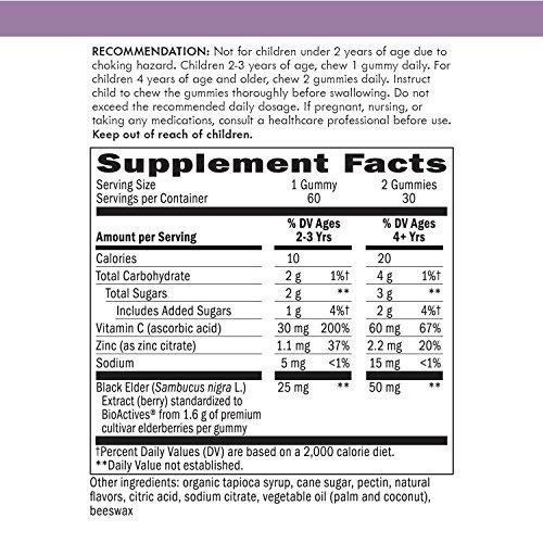 عروض Nature's Way Sambucus Elderberry Gummies for Kids, Herbal Supplements with Vitamin C and Zinc, Gluten Free, Vegetarian, 60 Count