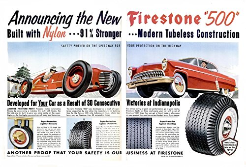 "1954 FIRESTONE ""500"" TIRES HUUGE VINTAGE COLOR AD DOUBLE PAGE ""Announcing the New..."" - USA - BEAUTIFUL ORIGINAL !!"