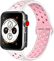 ATUP Compatible with for Apple Watch Band 38mm 40mm 42mm 44mm Women Men, Soft Silicone Replacement Bands Strap...