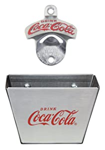 TableCraft Coca-Cola CC341361M Wall Mount Bottle Opener with Cap Catcher