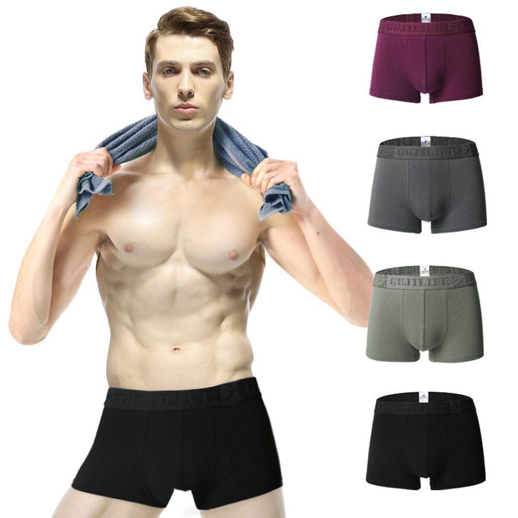 OUDIYA 4 Pcs Men U Convex Breathable Elastic Middle Waist Flat-Angle Panties Briefs