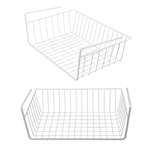 Tebery 2 Pack White Under Shelf Basket Wire Storage Basket for Kitchen Pantry Desk Bookshelf