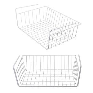 Tebery 2 Pack White Under Shelf Basket Wire Storage Basket for Kitchen Pantry Desk Bookshelf