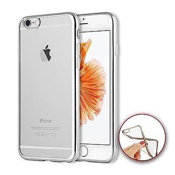 a0174d8c79e Donkeyphone - Funda Carcasa Plateada Bumper con Trasera Gel TPU Silicona  Transparente GALVANIZADA con Borde Plateado para iPhone 6 6S - Color Plata:  ...