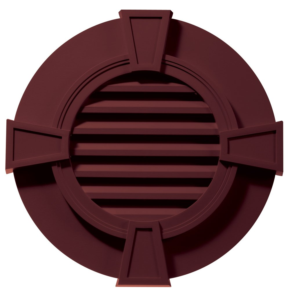 Builders Edge 120033030078 30'' Round Octagon Vent Wide Ring and Keystones 078, Wineberry