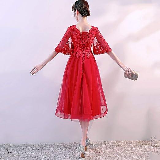 TY-ER Las Mujeres Embarazadas Vestido Rojo de Gran Tamaño Vestido de Novia de Cintura Alta Cubierta Vientre Embarazado U-Cuello de Media Manga hasta la ...