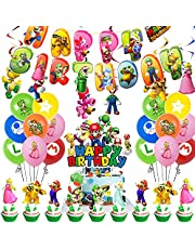 Super Mario Birthday Party Supplies Pack Includes Banner Cake Topper 24 Cupcake Toppers 14 Balloons Hanging Swirls for Super Mario party supplies