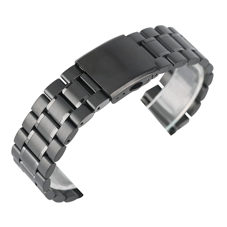 22 mm Solidステンレススチール時計バンドYISUYA交換リストバンドStraight End fold-over Clasp Polished Watchブレスレット2.2 CM ブラック  ブラック B073GJGVV4