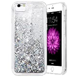 iPhone 6/6S/7/8 Case, Caka iPhone 6S Glitter Case [with Tempered Glass Screen Protector] Bling Flowing Floating Luxury Glitter Sparkle Soft TPU Liquid Case for iPhone 6/6S/7/8 (4.7') - (Silver)