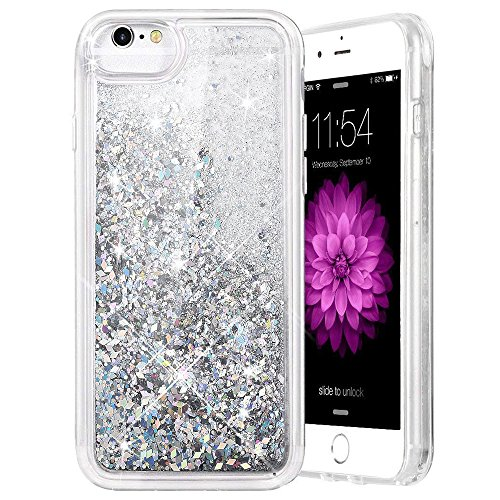 (iPhone 6 6S 7 8 Case, Caka iPhone 6S Glitter Case with Tempered Glass Screen Protector Bling Flowing Floating Luxury Glitter Sparkle Soft TPU Liquid Case for iPhone 6 6S 7 8 (4.7 inch) (Silver))