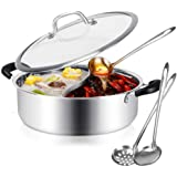 Hot Pot with Divider Stainless Steel Shabu Shabu Pot for Induction Cooktop Gas Stove 11'' Suitable for 2-3 Person (11…