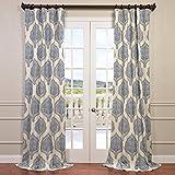 HPD HALF PRICE DRAPES Half Price Drapes PRTW-D37-84 Printed Cotton Twill Curtain, Arabesque Blue Review