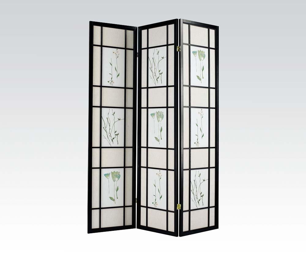 Brand New Iola (18''x3) x71''H Black Finish 3-panels Wooden Screen Room Divider