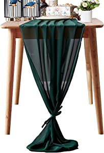 Aviviho Dark Green Chiffon Table Runner 10Ft for Wedding Baby Shower Party Decor Smooth Sheer Arch Table Decorations