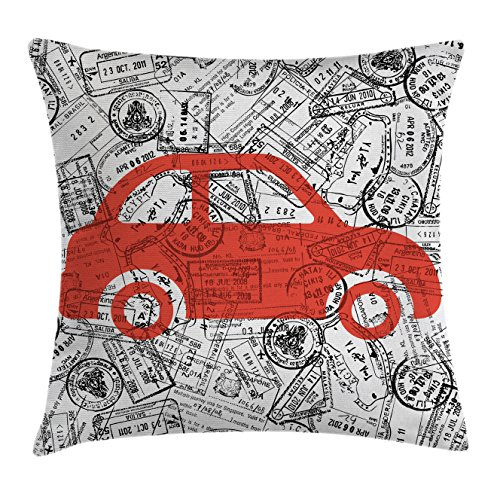 Lunarable Cartoon Throw Pillow Cushion Cover, Little Car with Travel Themed Passport Stamps Background Abstract Design, Decorative Square Accent Pillow Case, 28 X 28 Inches, Black Orange White