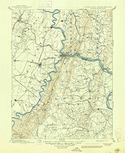 (YellowMaps Harpers Ferry VA topo map, 1:125000 Scale, 30 X 30 Minute, Historical, 1893, Updated 1945, 20.7 x 17 in - Tyvek)