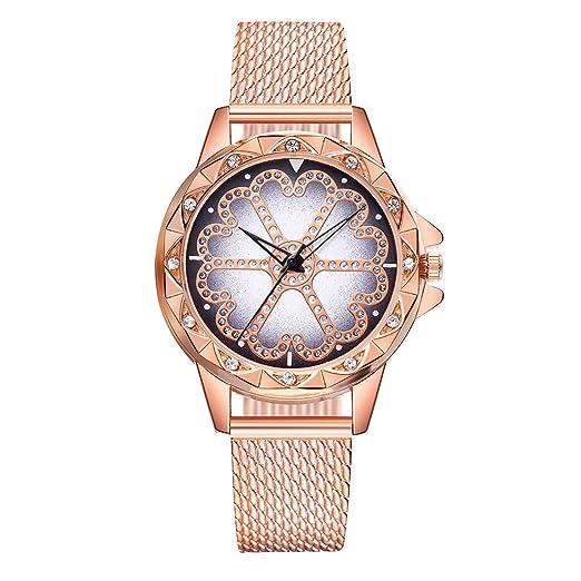 Loolik Moda Relojes Mujer,Banda de Cuero plástica de Cuarzo para Mujer y Reloj de Diamantes de Imitación con Flores de Lucky (Oro Rosa): Amazon.es: Relojes