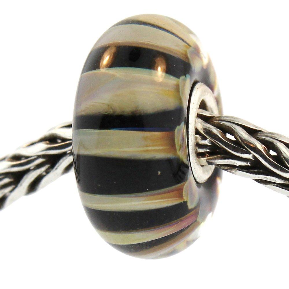 Authentic Trollbeads Glass 61385 Khaki Stripe