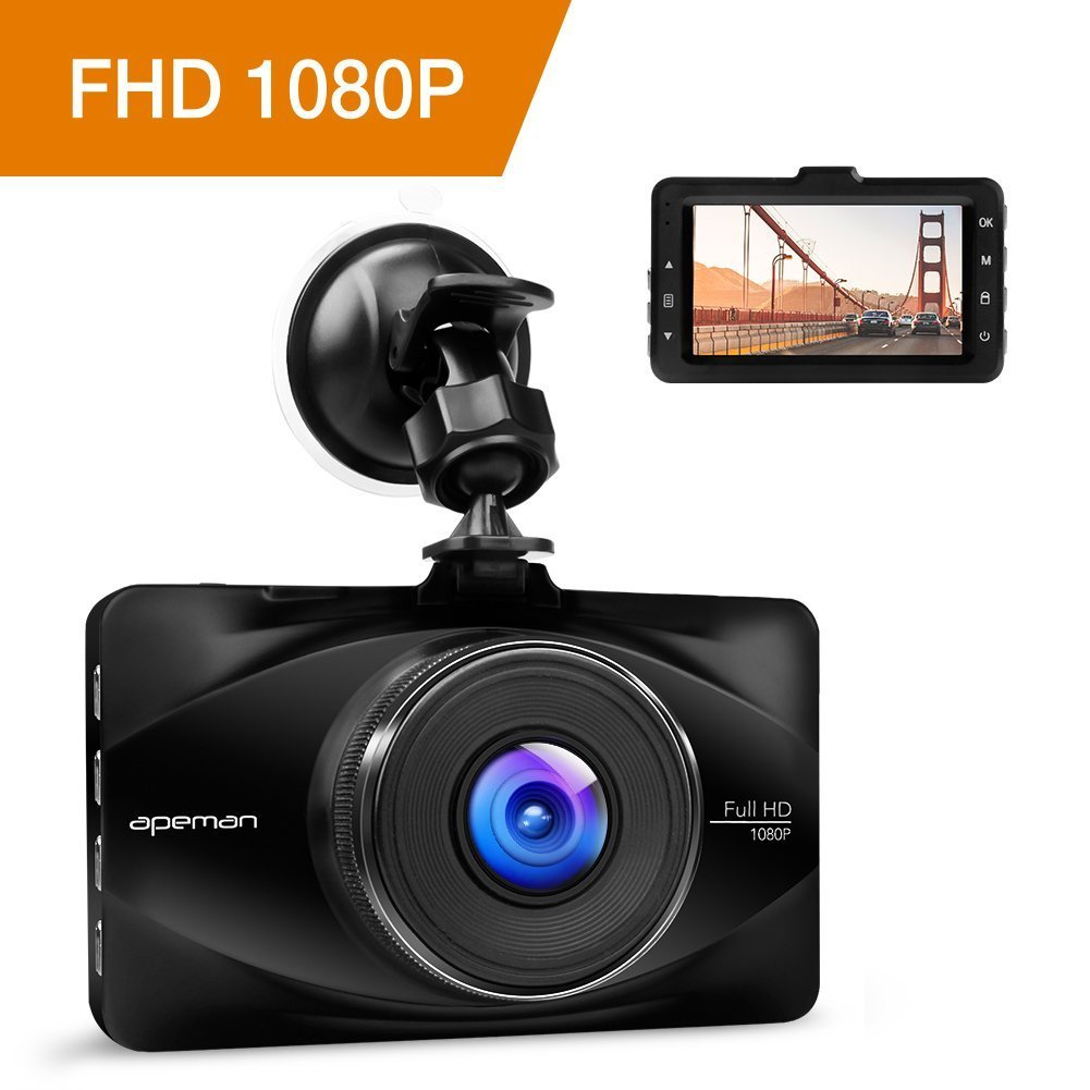 APEMAN Dash Cam Video Recorder DVR Car Dashboard Camera with 170¡ãWide Angle 1080P FHD 3.0'' Screen, Night Vision, G-sensor, WDR, Loop Recording, Motion Detection by APEMAN
