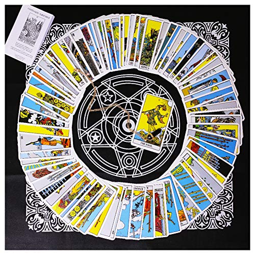 (Tarot Card Deck, Tarocchi Tarotology Universal Waite Tarot Divination, A Divining Tablecloth with A Spirit Pendulum ,)