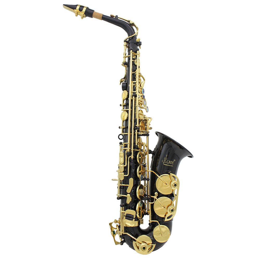 ammoon Brass Engraved Eb E-Flat Alto Saxophone Sax Abalone Shell Buttons Wind Instrument with Case Gloves Cleaning Cloth Grease Belt Brush