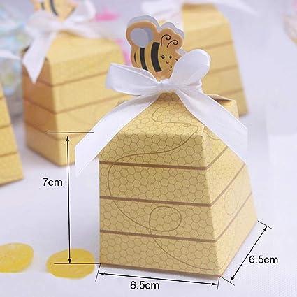 Caja de papel de 30 piezas Caja de regalo de abeja linda Diy Cumpleaños Boda Favor Galleta Caja de dulces Bolsa Baby Shower Decoración de fiesta con cinta blanca: Amazon.es: Oficina y