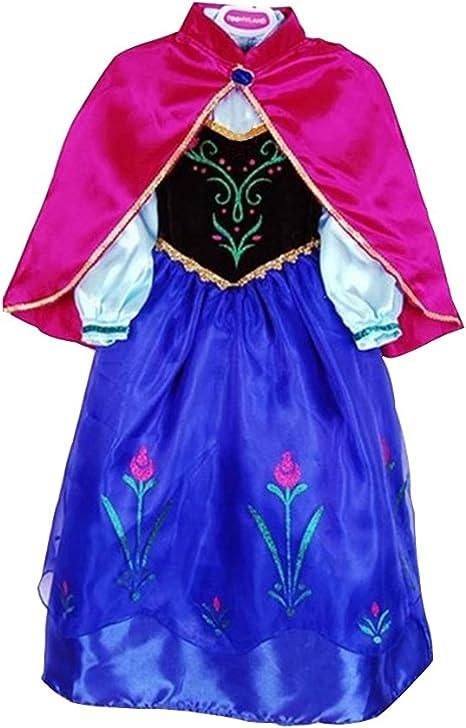MissFox Disfraz De Anna Frozen Trajes De Carnaval Niña 150CM Negro ...