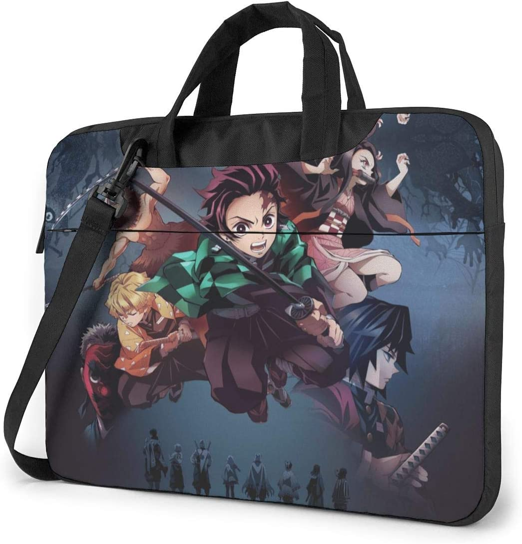 15.6 Inch Laptop Sleeve Bag, Anime Demon Slayer Tablet Briefcase Ultra Portable Protective Shoulder Shockproof Briefcase Sleeve Bags Cover MacBook Pro/Notebook