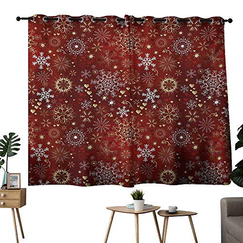 NUOMANAN Blackout Lined Curtains Winter Ruby Gold White Treatments Thermal Insulated Light Blocking Drapes Back for Bedroom 42