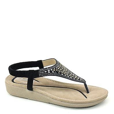 867638a4bc8b Brieten New Women s Rhinstones T- Strap Bungee Flip-Flop Comfort Thick Sole  Sandals (