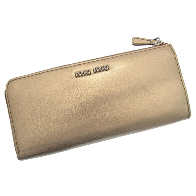 [ミュウミュウ] miumiu L字ファスナー財布 レディース リボンモチーフ付き ロゴ 中古 Y004 B0772PNYJF