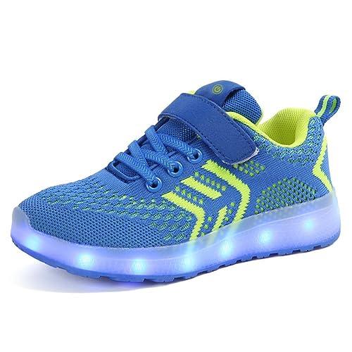 Wildfire Vine Regalo de cumpleaños Zapatos LED Niños Niñas 7 Color USB Carga LED Zapatillas Luces Luminosos Zapatillas LED Calzado Deportivo de Malla para ...