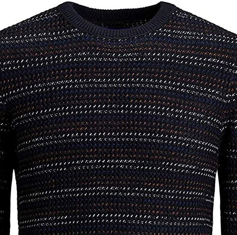 Jack&Jones sweter męski z długim rękawem granatowy 12168065 JORFLOW Knit Crew Neck ZA Sky Captain: Odzież