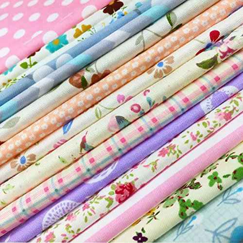 flic-flac Quilting Fabric Squares 100% Cotton Precut Quilt Sewing Floral Fabrics for Craft DIY (10 x 10 inches, 30pcs)