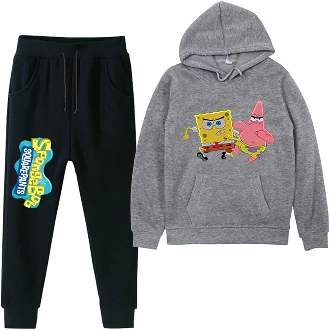 XMTIHE Little Boys Girls Spongebob Pullover Fleece Sweatshirts-Unisex Child Casual Warm Hoodies and Sweatpants Set