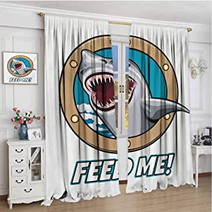 GUUVOR Shark 99% Blackout Curtains Funny Vintage Feed Me Quote with Hungry Hound Shark Head in Ship Window Humor Print for Bedroom Kindergarten Living Room W120 x L72 Inch Multicolor