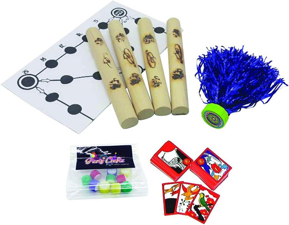 Party Craftz Korean Traditional Playing Folk Game Set (Yunnori, jegichagi,Play Jack Stone Toy and Hwatu)