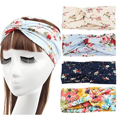 DANMY Women Girls Flower Twist Knotted Elastic Yoga Dance Sport Headband Head Wrap Turban ((4PCS) Mixed color)
