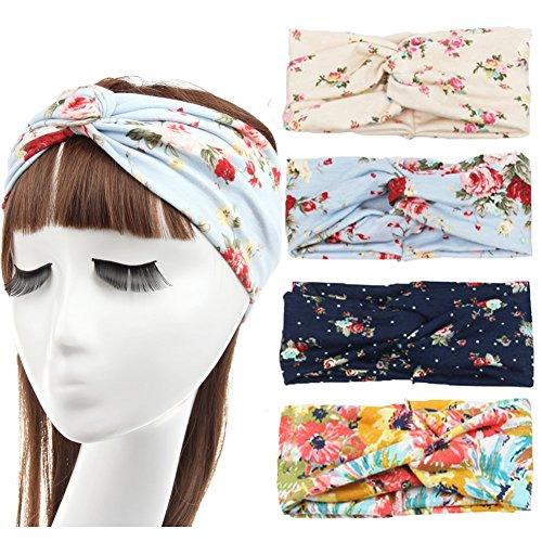 DANMY Women Girls Flower Twist Knotted Elastic Yoga Dance Sport Headband Head Wrap Turban ((4PCS) Mixed color)
