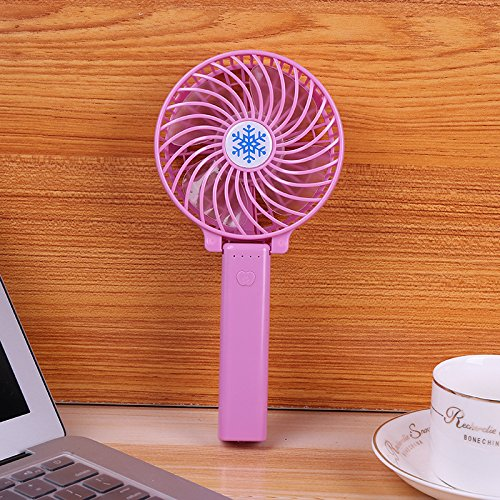 Tsptool Foldable Portable Fan Mini Handheld Electric Fan USB Rechargeable Adjustable 3 Speeds for Home, Office and Travel Purple
