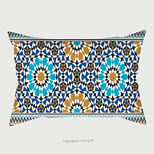 Custom Satin Pillowcase Protector Morocco Seamless Border Traditional Islamic Design Mosque Decoration Element 158401916 Pillow Case Covers Decorative by chaoran