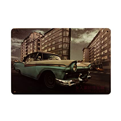 Jewh Plaque Car Theme Vintage Metal Tin Signs Motorcycle Wall Poster Decals - Plate Painting Bar