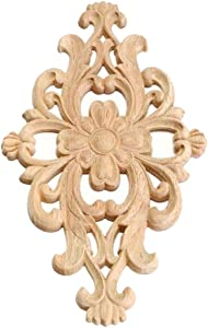 Saien Wood Applique Onlay Unpainted Woodcarving Decal Wood Carving Decal for Home Bed Cabinet Furniture Decor #1