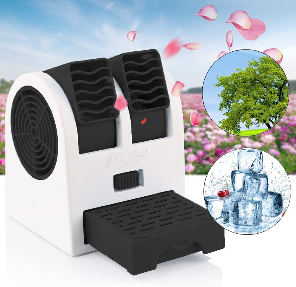 Mini Air Conditioner, Air Coolers, Portable Personal Space Arctic Air, 3 in 1 Portable Personal Space Cooling Fans (Usb or Battery Powered), for Home/Bedroom/Office/Outdoor (Black)