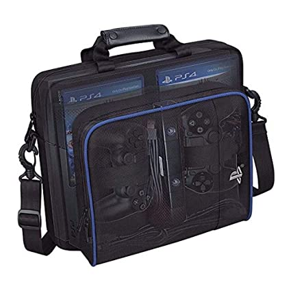 Tiean Compatible Sony Playstation 4 PS4 Multi-Pocket Console Case Travel Protective Padded Carry Bag