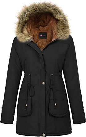 KANCY KOLE Abrigo Largo de Mujer con Capucha de Piel sintética cálida Espesa Fleece Parkas para Invierno KCA02022