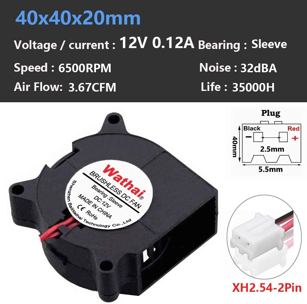 Wathai Turbo Blower Cooling Fan 12V 40mm 40x40x20mm Dc Brushless Cooling Fan