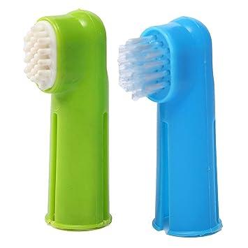 Yosoo nueva 2 x cepillo de dientes suave dedo mascota perro dientes de limpieza dental oral care higiene cepillo con de goma cepillo de masaje: Amazon.es: ...
